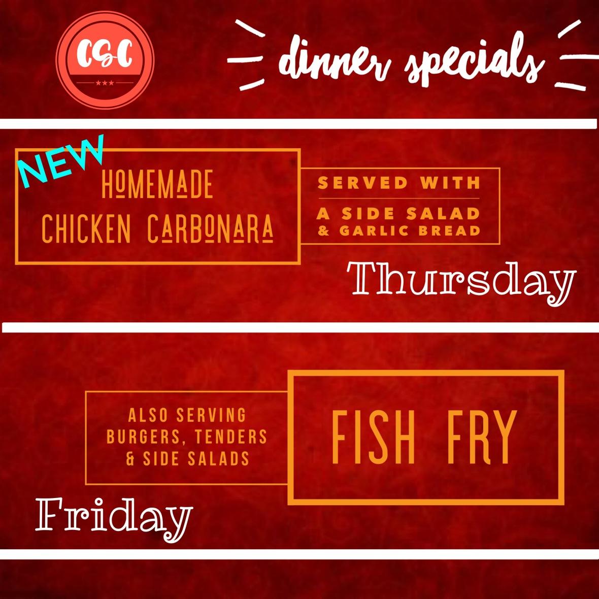 dinner specials Oct 3