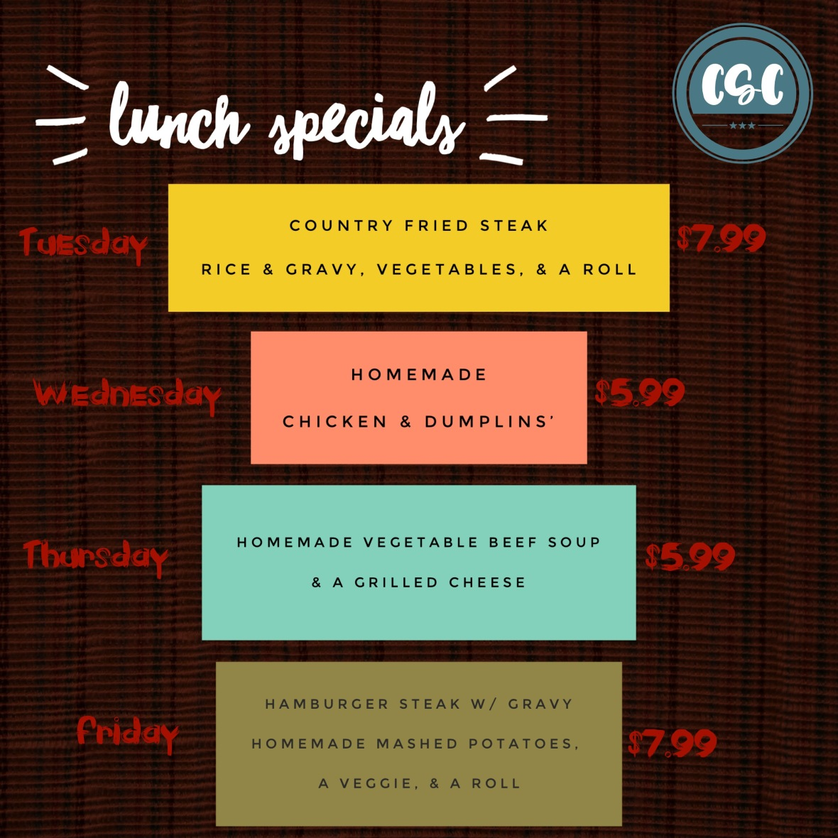 lunch specials Oct 3