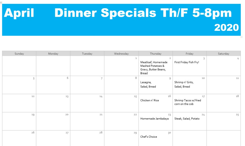 april dinner specials